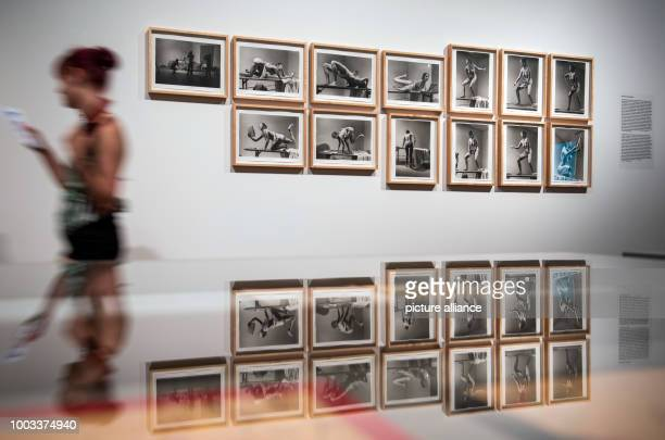 A woman walks past the artwork 'Interior Scroll' at the exhibition 'Carolee Schneemann Kinetische Malerei' in Frankfurt/Main Germany 30 May 2017 The...