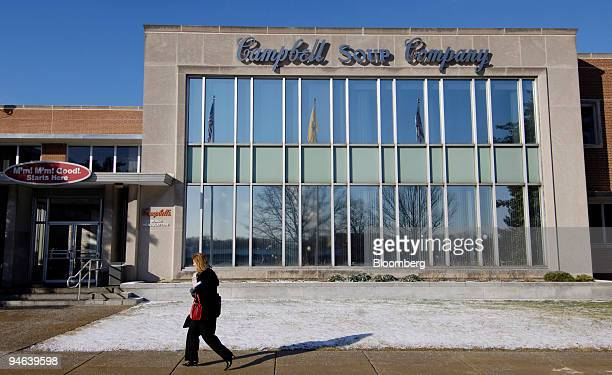 A woman walks past the Campbell Soup Co headquarters in Camden New Jersey Wednesday February 7 2007 Campbell Soup Co the world's largest soupmaker...