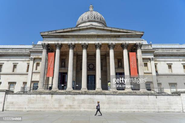 Woman walks past the National Portrait Gallery seen on the day British Prime Minister Boris Johnson announced museums & galleries can reopen in...