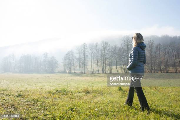 woman walks through hilly meadow in mist - walking stock pictures, royalty-free photos & images