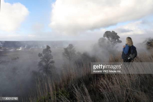woman walks through meadow above crater at sunrise - ハワイ火山国立公園 ストックフォトと画像