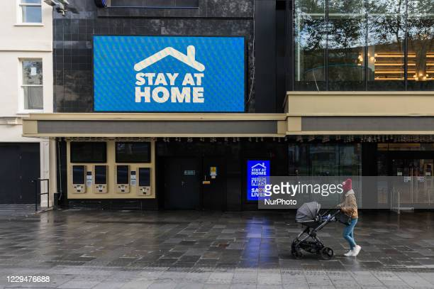 Woman walks with a pram in Leicester Square as England enters a four-week lockdown to tackle the spread of coronavirus, on 05 November, 2020 in...