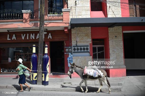 A woman walks with her donkey in front of the building where the only cinema worked in Tlaxiaco Oaxaca State hometown to Mexican actress Yalitza...