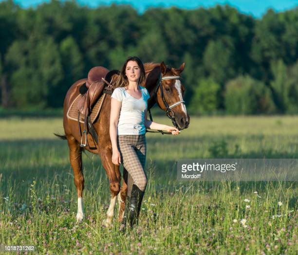 woman walks with her horse on meadow - dressage horse russia stock photos and pictures