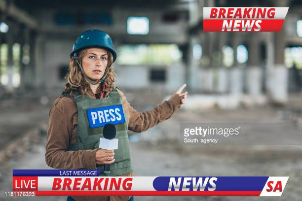 woman war reporter in the war zone - live event stock pictures, royalty-free photos & images