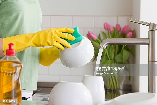 Woman washing up