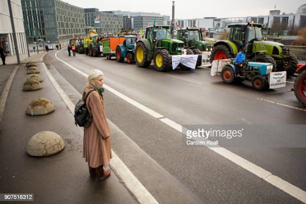 A woman watches tractors attending a march to demonstrate against the agroindustry on January 20 2018 in Berlin Germany Marchers whose protest is...