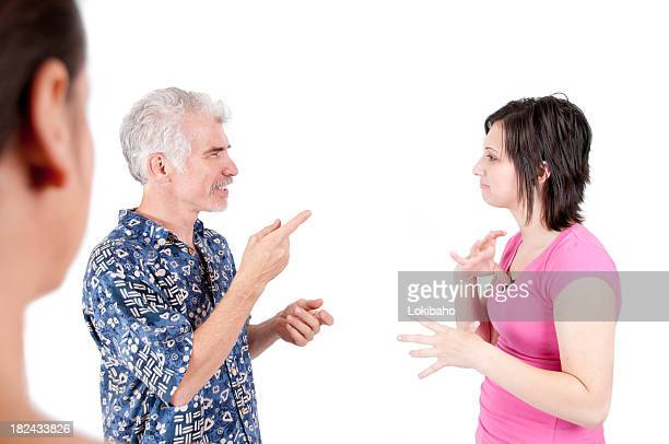 Woman watching a Deaf Converation