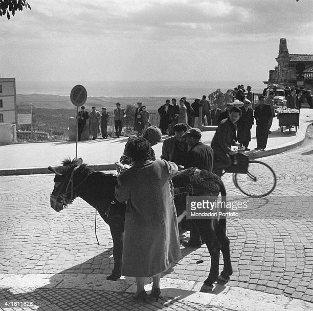 'A woman watching a donkey in a street of the city Agrigento December 1956 '