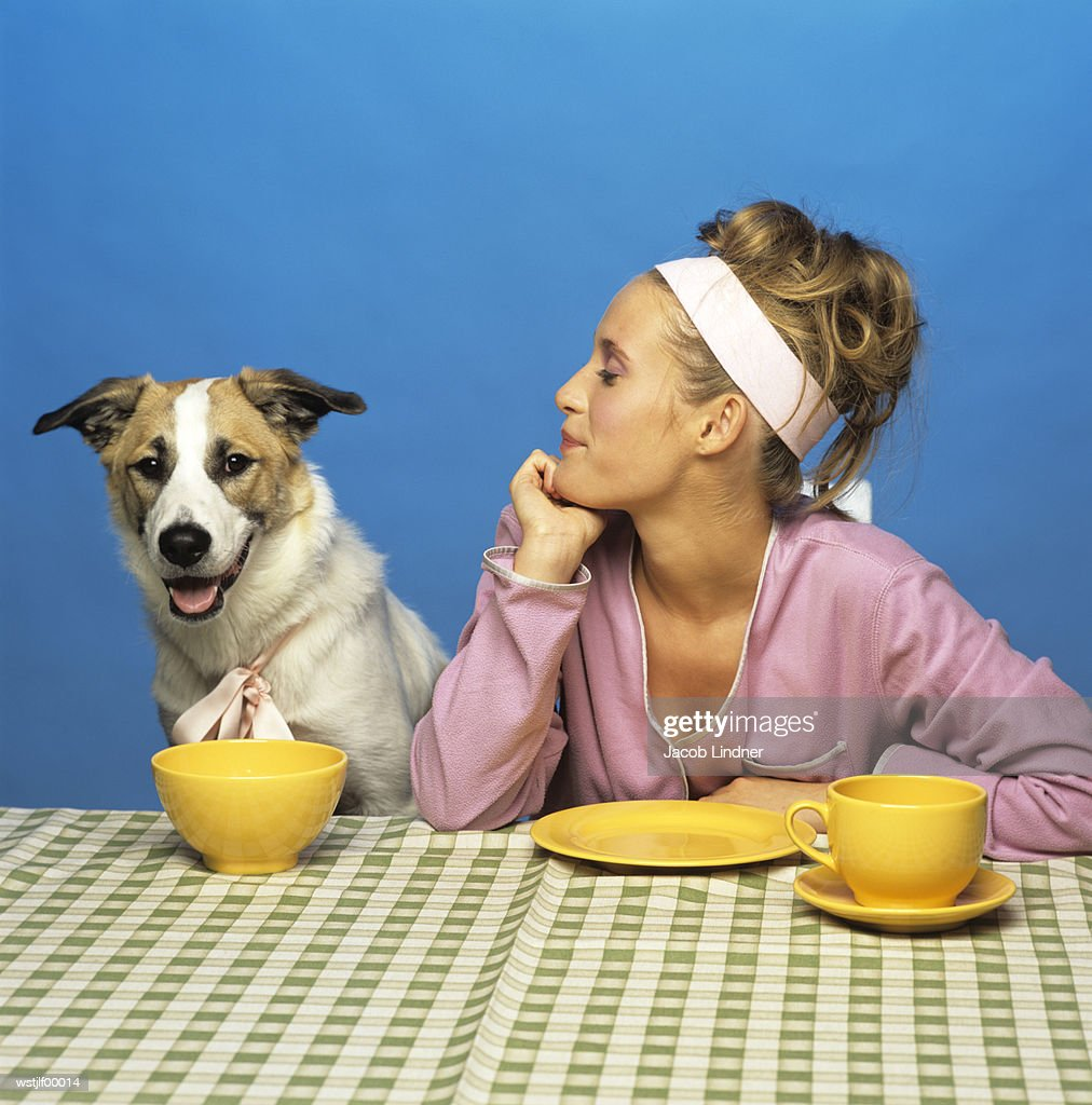 Woman watching dog at table : Stockfoto