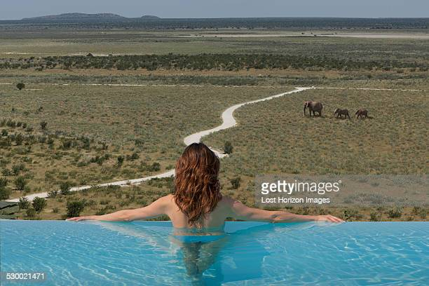 Woman watching elephants from infinity pool at Dolomite camp, Etosha National Park, Namibia