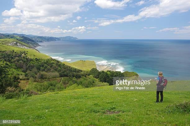 woman watching the sea - zumaia - guipuzcoa - basque country - spain - províncias bascas - fotografias e filmes do acervo
