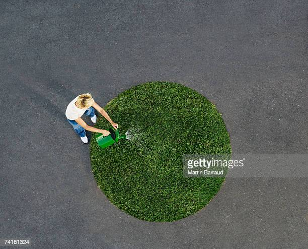woman watering circle of grass on pavement - circle stock pictures, royalty-free photos & images