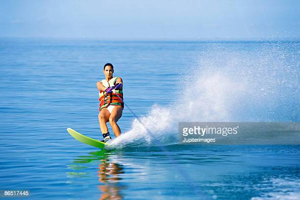 woman water-skiing - waterskiing stock photos and pictures