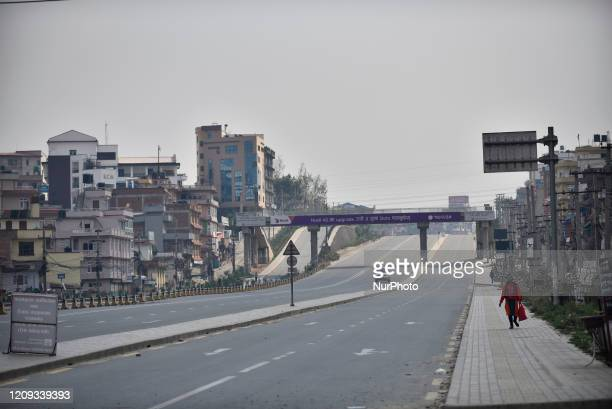 Woman way towards home during the complete nationwide lockdown as concerns about the spread of Corona Virus at Kathmandu, Nepal on Monday, April 06,...