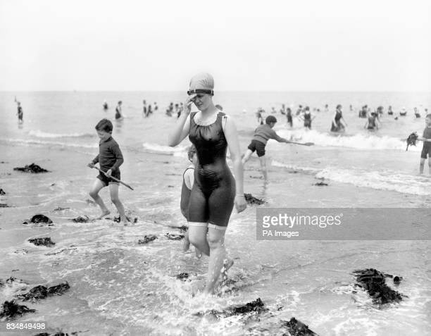 A woman wearing a bathing suit that would have been considered very risque