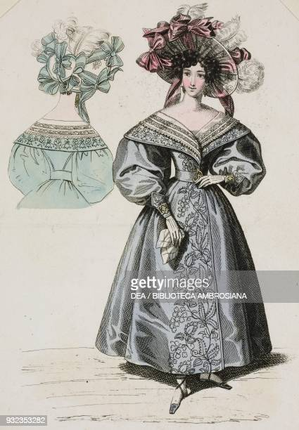 Woman wearing a blue dress with puffed sleeves embroidered floral motifs and lightcoloured hat adorned with pink ribbons and lightcoloured feathers...