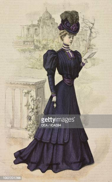 Woman wearing a business dress skirt with ruffles in blue Serge bolero with pleats hat with feather creation by Martial and Armand engraving from La...