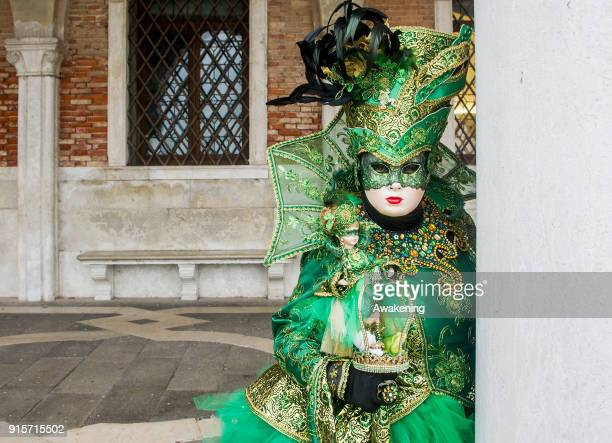 A woman wearing a carnival costume poses in St Mark square on February 8 2018 in Venice Italy The theme for the 2018 edition of Venice Carnival is...