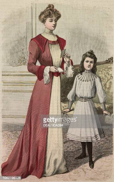 Woman wearing a cashmere house dress and an 89 year old girl in a pleated dress models by Mademoiselle Louise Piret engraving from La Mode Illustree...