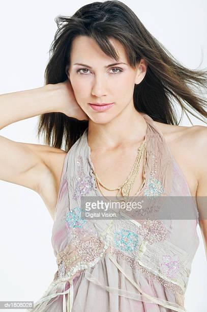 Woman Wearing a Chiffon Top