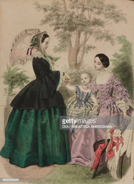 Woman wearing a city dress and bonnet holding an umbrella onetwo yearold girl wearing a poplin dress woman wearing an evening dress engraving by...