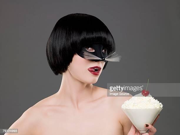 Woman wearing a costume mask