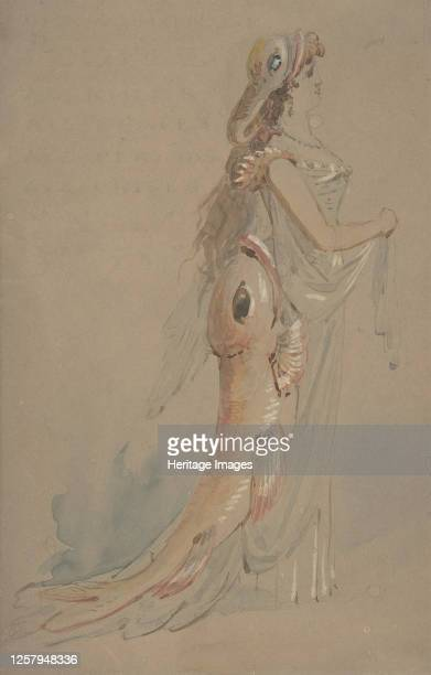 Woman Wearing a Costume Whose Bustle and Headdress are the Shape of Fishes second half 19th century Artist Anon