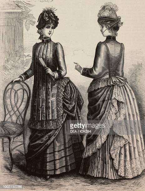 Woman wearing a Crepe cape front and back views design by Madame Coussinet engraving from La Mode Illustree No 29 July 19 1885