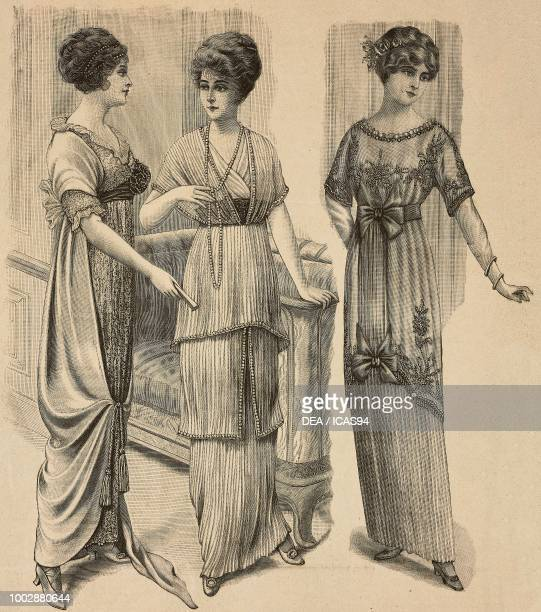 Woman wearing a Crepe de Chine evening dress woman wearing a pleated tulle evening dress woman wearing a small dinner dress pleated skirt with bows...