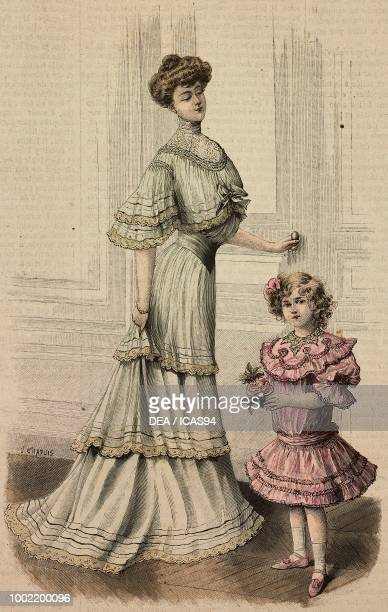 Woman wearing a crepe de Chine meeting dress creation by Mademoiselle Louise Piret a 45 year old girl with elegant dress in Eolienne fabric with...