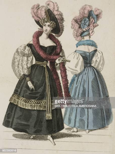 Woman wearing a dark dress with puffed sleeves burgundy scarf and black hat adorned with pink feathers and a woman wearing the same dress and hat in...