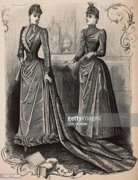 Woman wearing a dinner dress in pekine silk and Crepe de Chine train skirt woman wearing a silk visiting dress draped skirt and bodice designs by...