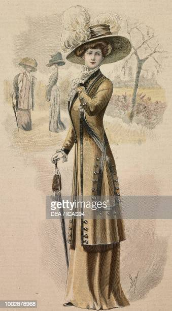 Woman wearing a Drap walking dress, American jacket decorated with trimmings and buttons and a hat with feathers, creation by High Life Tailor,...