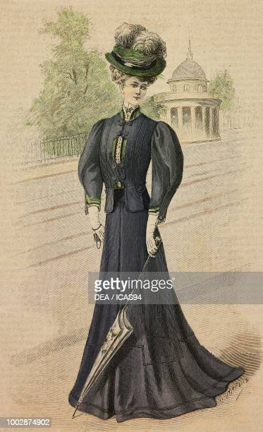 Woman wearing a Drap walking dress short jacket with puffed sleeves and a hat with feathers creation by Martial and Armand colored engraving from La...