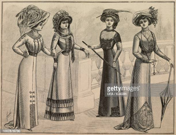 Woman wearing a dress decorated with trimmings; woman wearing a cashmere dress; woman wearing a straight dress decorated with Greek ribbons; woman...