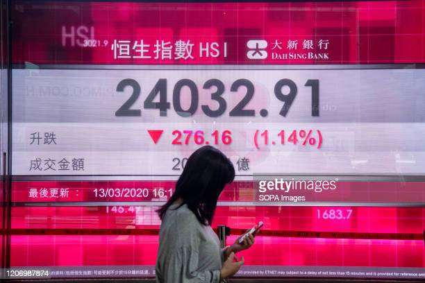 A woman wearing a face mask as a precautionary measure against the coronavirus walks past a stock market display board showing the Hang Seng Index...