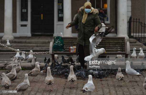 Woman wearing a face mask feeds birds at the Grand Canal in Portobello area of Dublin during Level 5 Covid-19 lockdown. On Wednesday, March 3 in...