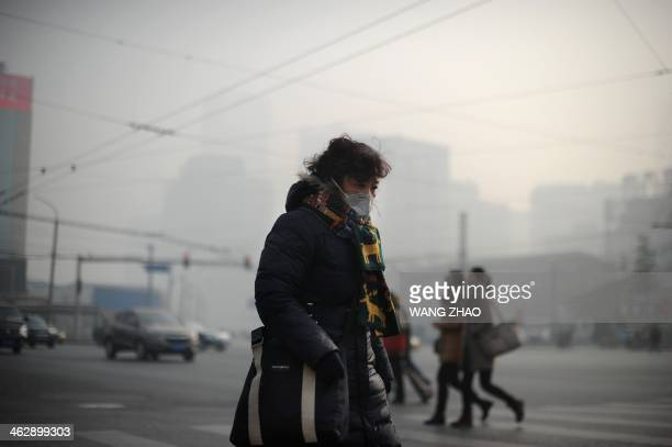A woman wearing a face mask makes her way along a street in Beijing on January 16 2014 China's capital was shrouded in thick smog on January 16...