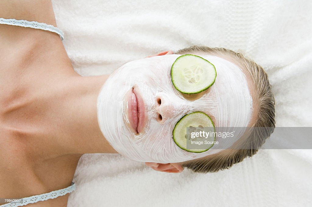 Woman wearing a face mask : Stock Photo