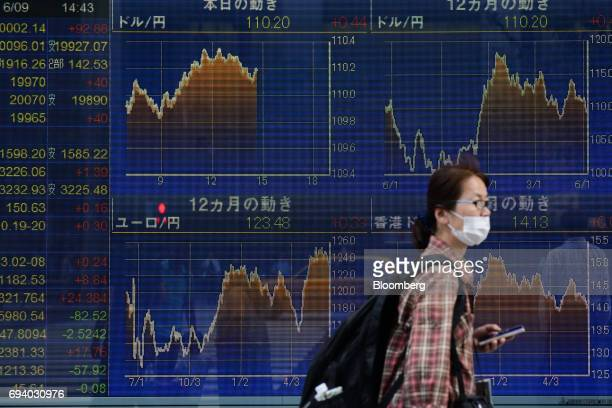 A woman wearing a face mask walks past an electronic stock board outside a securities firm in Tokyo Japan on Friday June 9 2017 The Topix index...
