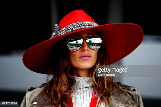 Woman wearing a festive hat looks on prior to the 143rd running of the Kentucky Derby at Churchill Downs on May 6, 2017 in Louisville, Kentucky.
