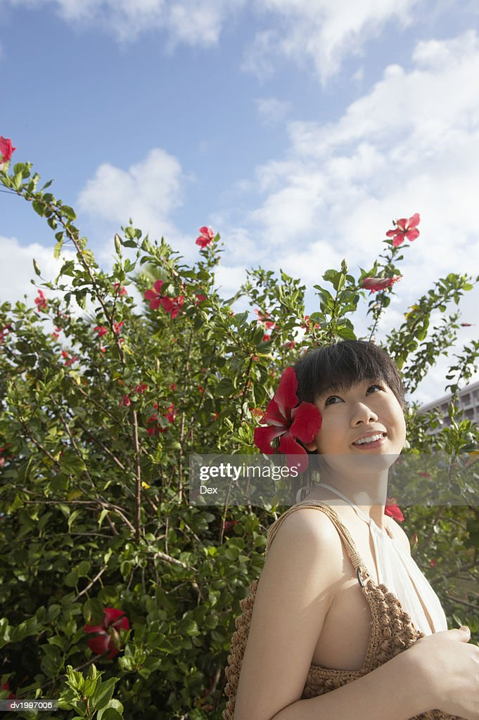 Woman Wearing a Flower in Hair Looking Upwards : Stock Photo