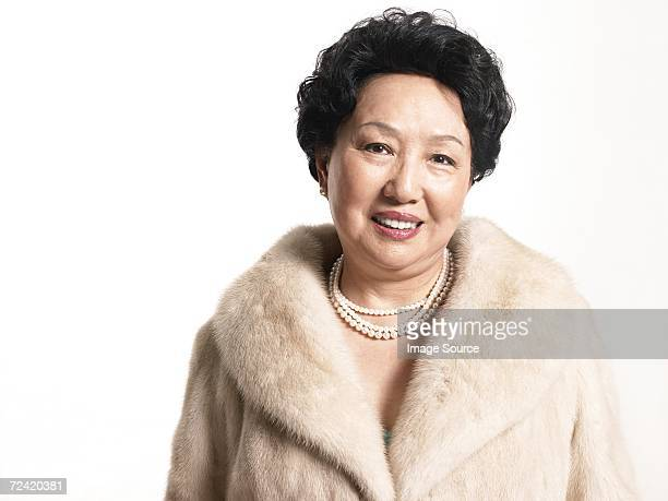 Woman wearing a fur coat