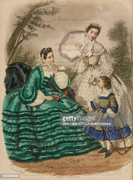 Woman wearing a green city dress young woman wearing a umbrella and white city dress girl wearing a dress and holding a hoop engraving by...