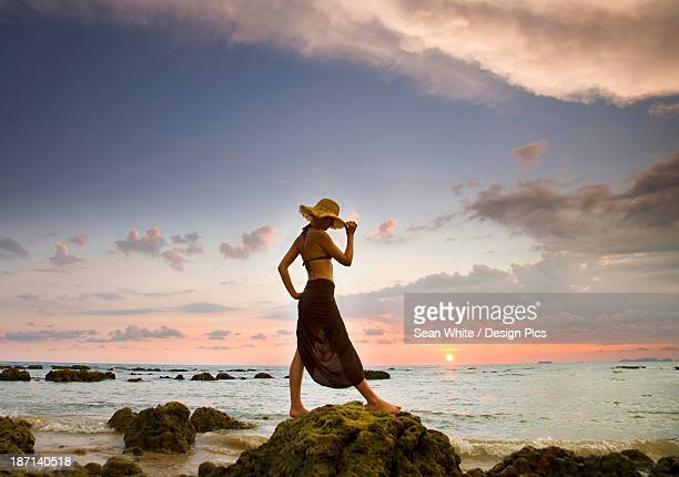a woman wearing a hat and sarong stands on the beach of a tropical island at sunset - free up skirt pics stock photos and pictures