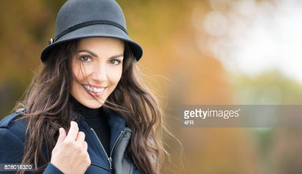Woman wearing a Hat, Candid Smile, Panoramic Crop