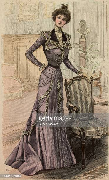 Woman wearing a heliotrope crepe de Chine reception dress creation by Madames BrunCailleux engraving from La Mode Illustree No 8 February 25 1900