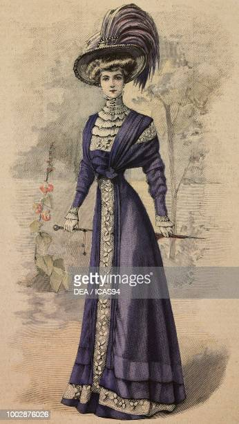 Woman wearing a lavender Crepe de Chine afternoon dress Valenciennes lace inserts and a hat with feathers creation by Lechelon colored engraving from...