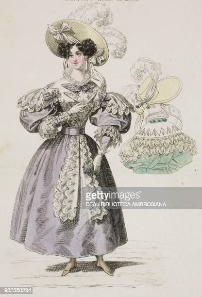 Woman wearing a lavender dress with lightcoloured hat adorned with white feathers and a Woman wearing the same dress in green seen from behind plate...